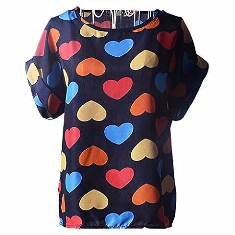 Chemisier en Mousseline - BienBien Imprime T-shirt Ete Tunique Boheme Chic Grande Taille Bluse Femme a Fleurs