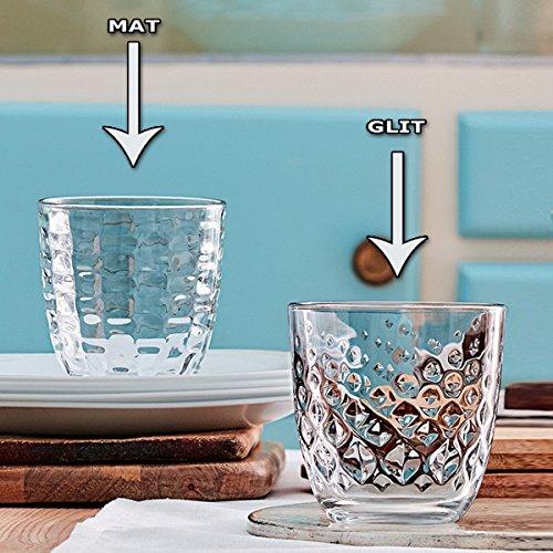 Set 12 bicchieri (6pz MAT + 6pz GLIT) acqua bibita bevanda 29,5cl BORMIOLI MAT MADE IN ITALY