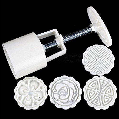 Anddod DIY Moon Cake Cutter Mold Flowers Round 4 Stamps Moon Cake Mould Cake Decoration Tool -