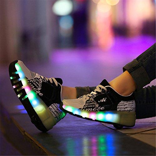 SGoodshoes Enfants Fille LED Chaussures à roulettes Patins Garçon Sneakers Clignotant Sport Chaussures Patins Noir
