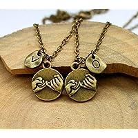 Personalizzati mano collana iniziale nella mano, cuore a cuore, migliore amico collana Set, Fidanzata Fidanzato regalo, regali di Natale, regalo Coppie