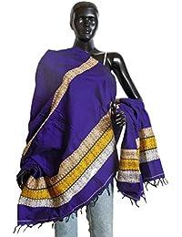 DollsofIndia Purple Bomkai Cotton Stole With Weaved Design Pallu - 36 X 74 Inches (NP88) - Purple