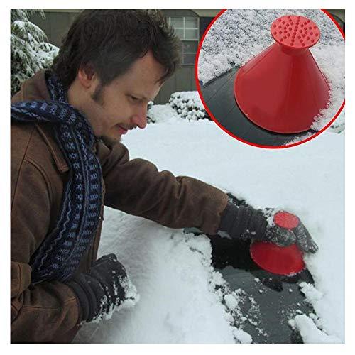 Balock Schuhe Cone-Shaped Auto Windschutzscheibe Schneeräumung Scraper Schaufel Fensterreinigungswerkzeug,Windschild Eiskratzer Round Magic Cone-Shaped Eiskratzer (Rot)
