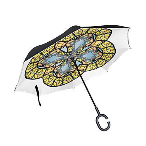 Schöne schöne Rose Fenster Doppelschicht Falten Anti uv Schutz Winddicht Regen gerade Autos Golf umgedrehten Regenschirm Stehen mit c förmigen Griff