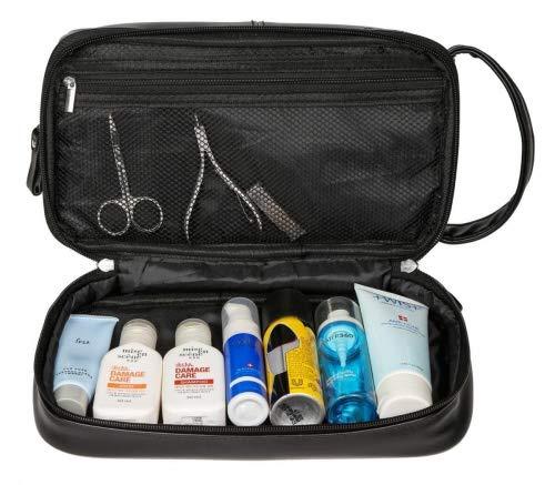 f4df372184 WODISON Beauty Case da Viaggio Borsa da Toilette Kit Bagno in Pelle per  Uomo Nero