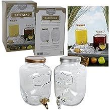 Saftspender 4 litros de vidrio con Zapfhahn Wasserspender Getränkespender Yorkshire con Kunststoffzapfhahn y tapas en bronce