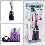 2in1enfriador de botellas nosotros cubitos de hielo de depósito (Lila de recipiente Hielo transparente, cubitera, enfriador de hielo, 4piezas)