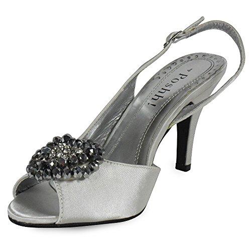 Loudlook Nouvelles Femmes Dames En Satin De Demoiselle D'honneur De Mari¨¦e Broche Haute Chaton Talon Chaussures Peeptoe Taille 3-8 Ivoire