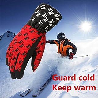 AmazingDays Adult Winter Warm Waterproof Windproof Snow Snowboard Ski Sports Gloves (Red)