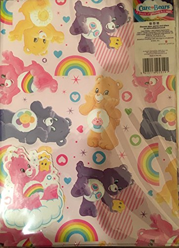Image of care bears gift wrap wrapping paper 2 sheets and 2 tags