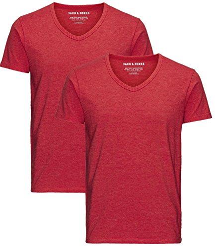 JACK & JONES Herren 2er Pack T-Shirt Basic V-Ausschnitt 12059219 2x chinese