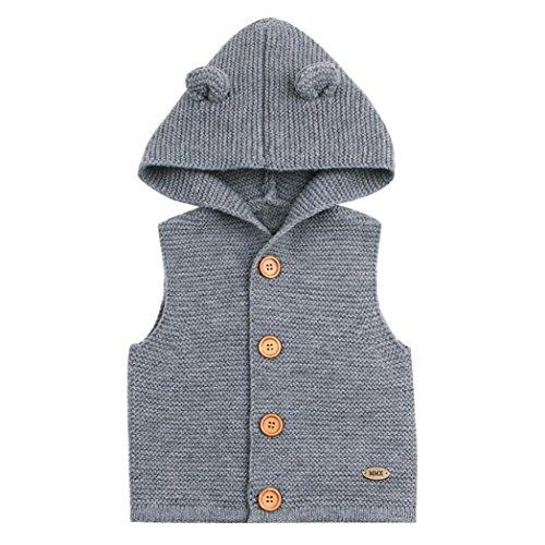Kapuze Weste Kleinkind Kinder, DoraMe Baby Mädchen Jungen Winter Warme Kleidung Dicken ärmellose Mantel Outwear Mode Solide Bluse für 3-24 Monate (Grau, 24 Monate) (Pullover Stricken Baby-jungen)