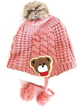 réf4b36BB.208–Berretto bambino bambino ragazza o ragazzo–Colbacco Rosa Pelliccia orsacchiotto Pompom