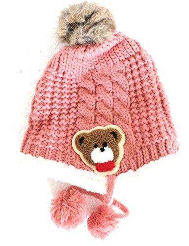 Réf4B36 BB.208 - Bonnet Bébé Enfant Fille ou Garçon - Chapka Rose Pompom  Fourrure c21315b9914