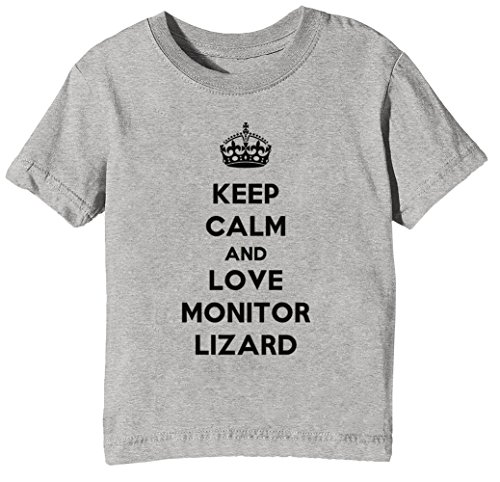 Keep Calm and Love Monitor Lizard Kinder Unisex Jungen Mädchen T-Shirt Rundhals Grau Kurzarm Größe XS Kids Boys Girls Grey X-Small Size - Lizard Monitor