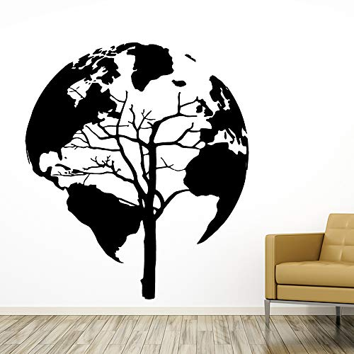 Preisvergleich Produktbild WSYYW Weltkarte Wandaufkleber Baum Pvc Aufkleber Schlafzimmer Dekoration Diy Pvc Home Wohnzimmer Dekoration Zubehör Hausgarten Wandaufkleber Braun XL 58cm X 62cm