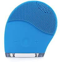 ZONKO Cepillo facial Limpiador Facial Silicona masaje facial Ultrasonico Recargable resistente al agua Electric Vibration Maquillaje Herramienta para Facial Polaco y Scrub (Azul)