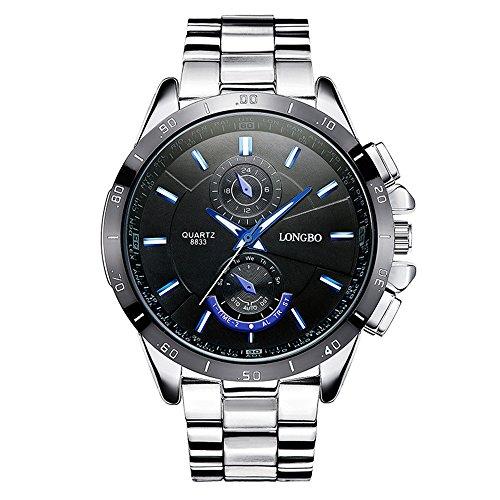 a8cfa6d23fb9 Moda Casual Relojes para Hombre - Correa de Acero Inoxidable de Lujo  Luminoso Pequeños Diales Decorativos