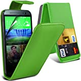 ( Green ) HTC One M8 Premium Faux Kredit / Debit-Karten-Slot Leder Flip Case Hülle & LCD-Display Schutzfolie by Fone-Case