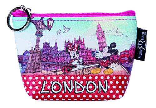 Geldtäschchen Mickey + Minnie Mouse Motiv London rot-bunt Portemonnaie Geldbeutel DBE822A - London Damen Portemonnaie