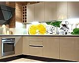 Küchenrückwand Folie selbstklebend ZITRONE UND EIS 180 x 60 cm | Klebefolie - Dekofolie - Spritzchutz für Küche | PREMIUM QUALITÄT