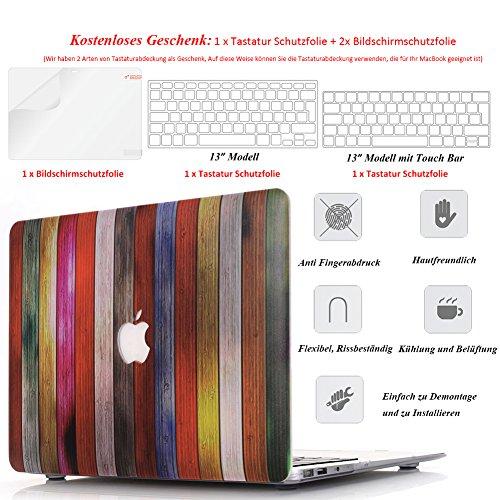MacBook Pro 13 Hülle 2017 & 2016 Holz Ultradünne Hochwertige Hartschale Tasche Schutzhülle Case für Neueste 13,3 Zoll MacBook Pro 13