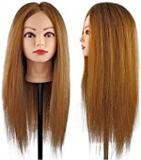32 INCH BROWN Synthetic Long Hair Hairdressers Training Head Dummy IAS