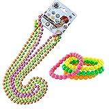 iLoveCos 80er Party Kleid Zubehör Kunststoff Neon Mehrfarbig Perlenkette Perlen Halsketten Fluoreszierende Perlen und Neon Perlen-Armbänder Verschiedene Farben Set, One Size