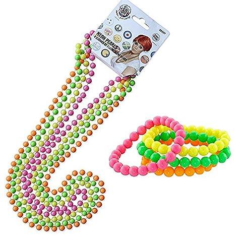 iLoveCos 80s Party Dress Accessories Plastic Neon Multicolour Bead Necklaces and Neon Bracelets Set