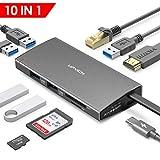 UPVICH USB C Hub,Docking Station,10in 1 USB-C Adapter mit HDMI 4K,Ethernet RJ45 LAN,4 USB 3.0,1 USB 2.0,Micro SD/TF Kartenleser,Stromversorgung 100W,Kompatibel mit MacBook Pro,Dell,Lenovo Samsung Dex