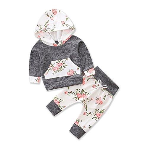 chicolife Baby-Mädchen Florale Hoodie Pocket Top Baumwolle Hose Outfits Kinder Verspieltes Set grau
