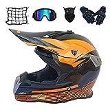 Casque Motocross Adulte Noir et Orange, Casque VTT Integral Pro avec Lunettes, Gants,...