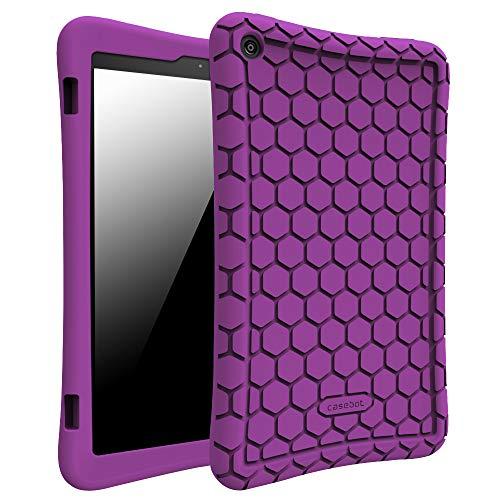 Fintie Hülle für Amazon Fire HD 8 Tablet (7. und 8. Generation - 2017 und 2018) - Leichte Rutschfeste Stoßfeste Silikon Tasche Case Kinderfreundliche Schutzhülle, Lila