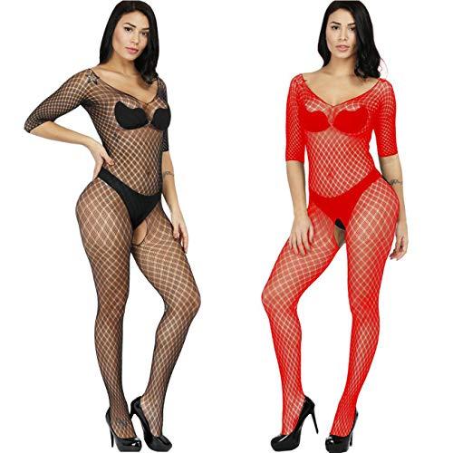 f1891af88 LOVELYBOBO 2 Pack Frauen Fischnetz Sheer Open Crotch Unterwäschen Bodystockings  Body Strumpf Bodysuit Dessous Übergröße (