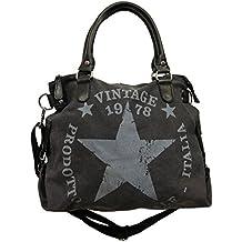 e24c8d3cb4d78 JameStyle26 Star Bag Vintage Stern Damen Stamp Tasche Fashion Shopper  Henkeltasche Canvas Stoff