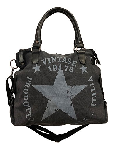 JameStyle26 Star Bag Vintage Stern Damen Stamp Tasche Fashion Shopper Henkeltasche Canvas Stoff, Schwarz, Maße: L: 45cm H: 42cm B: 18cm -