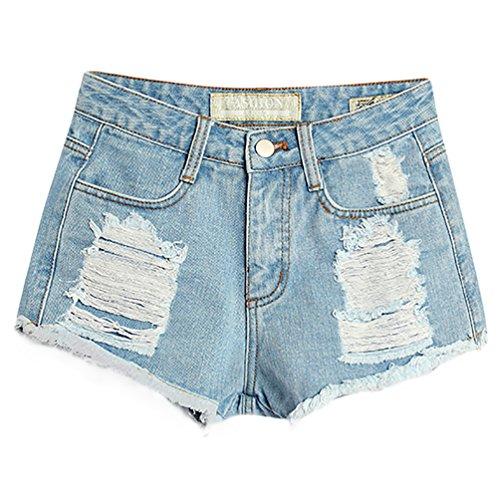 Baymate Frauen Weinlese Hohe Taille Jeans Loch Kurz Jeans Denim Shorts Hell Blau 38 (Steigen Denim Taschen)