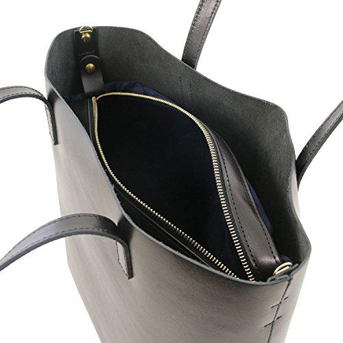 Tuscany Leather Ilaria Borsa in pelle sfoderata con tasca interna estraibile Nero Nero