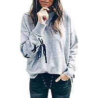 Koly Mujer Casual Camiseta algodón Tops Blusa Sudadera,Casual Suéter con cuello en O de arco Abrigo de los cultivos Suéteres deportivos Camisetas y tops ropa deportiva para mujer