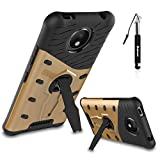 Motorola Moto C Plus Hülle, Motorola Moto C Plus Hülle TPU Handyhülle, Huphant Sniper Hybrid Case [Soft TPU with Hard PC Holder Serie]2 in 1 Stoßfest Hülle 360 Protective Case für Motorola Moto C Plus (5 Zoll)+1X Schwarz Stylus Touchscreen Pen - Gold