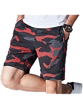 Huateng Pantalones cortos ocasionales de la cintura elástica de los hombres Pantalones cortos flojos de la cremallera...