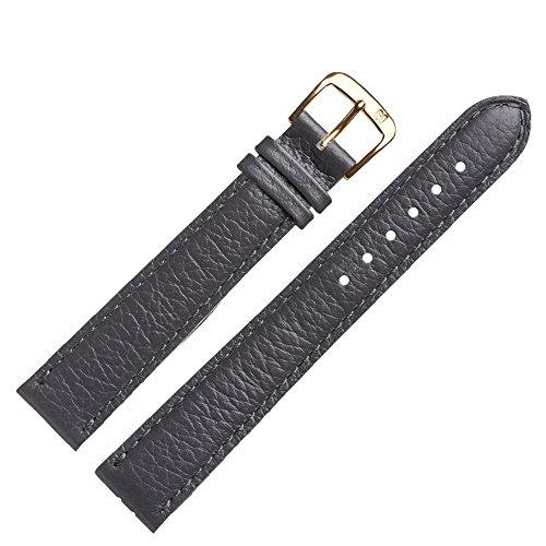 MARBURGER Uhrenarmband 18mm Leder Grau Rindsleder XL - Uhrband Set 7541815000220 (Dark Silver Tier)