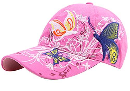 Belsen Mädchen Schmetterlings-Stickerei- Vintage Baseball Cap Snapback Trucker Hat (rosa)