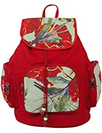 Purse Collection Red Flower Printed Shoulder Bags With 3 Front Pockets For Women'S