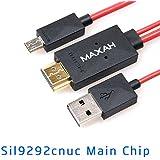MAXAH® 2m MHL Micro USB a HDMI cable adaptador 1080P HDTV para Samsung Galaxy S3 S4 S5 Note 3 Note 2 MEGA Note 8 (Rojo)