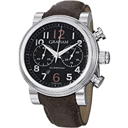 Graham Men's 47mm Brown Calfskin Band Steel Case Automatic Black Dial Chronograph Watch 2BLFS.B36A