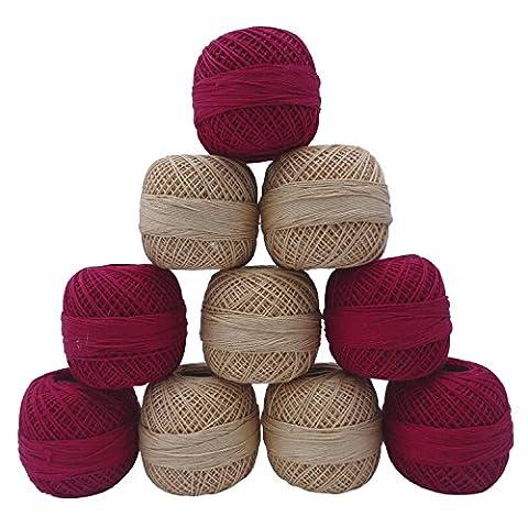 10 Pcs Set Beige Rose Fils discussion Frivolité Crochet coton