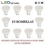 LED dicroica (pack 10 unidades) 7W 110º Blanco calido 3000K GU10 500lm 220V-240v Alta calidad