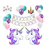 UCTOP STORE 58 Stück Einhorn Geburtstag Party Supplies Happy Birthday Dekoration Set riesige Einhorn Luftballons Happy Birthday Banner Gold Einhorn Stirnband Einhorn Kuchen Toppers Latex Ballon