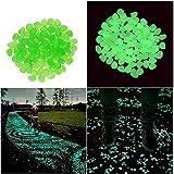 Piedras decorativas Candora, artificiales, luminosas que brillan en la oscuridad, para jardines, exterior, peceras, 200 unidades, verde